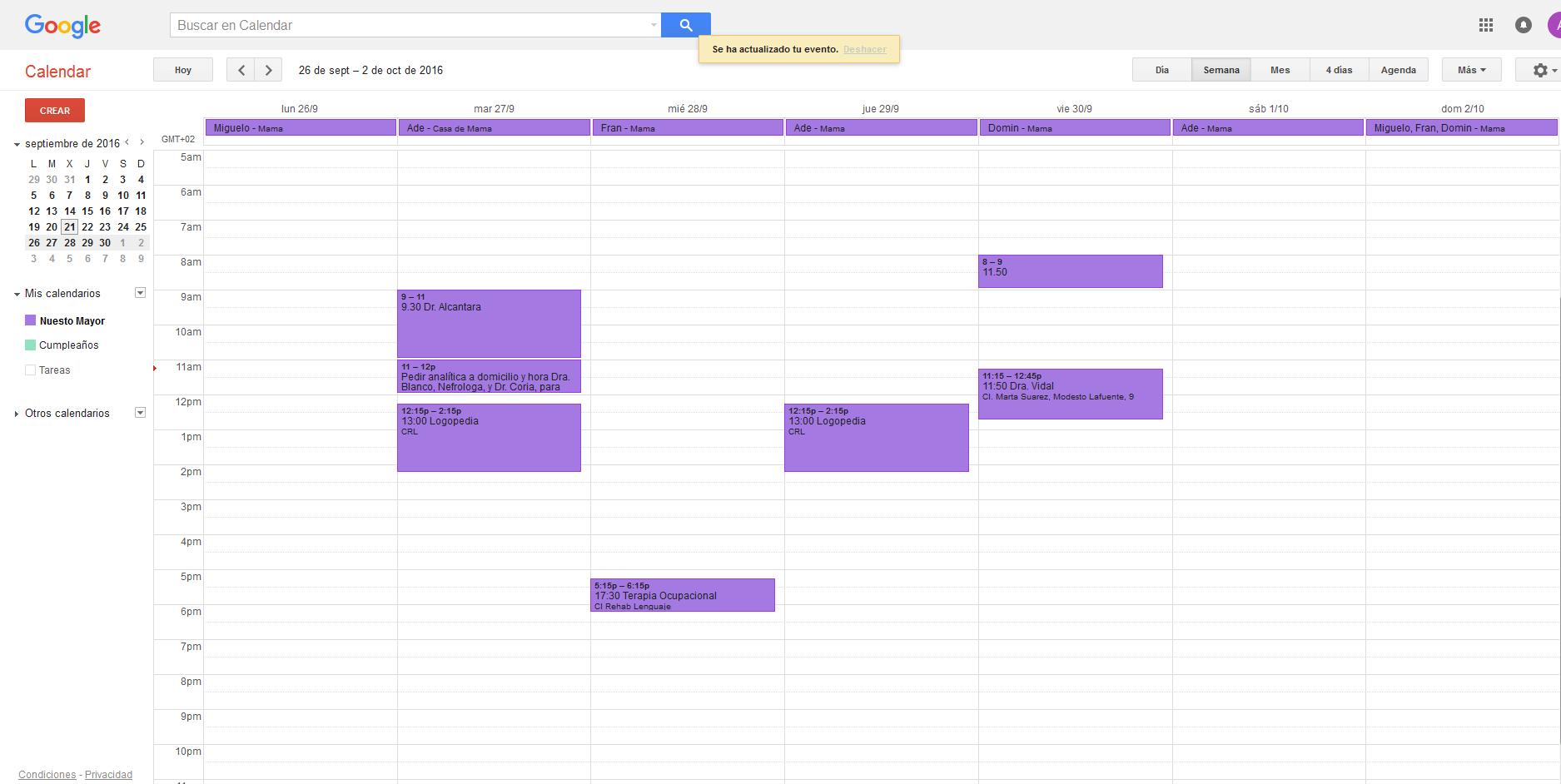 Google Calendar en el navegador