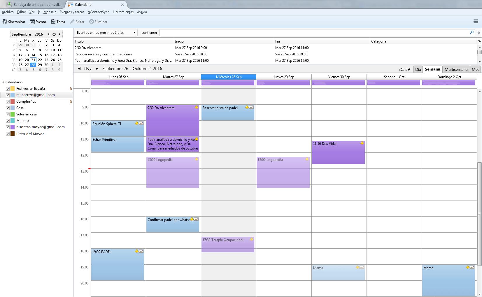 Calendario en Thunderbird
