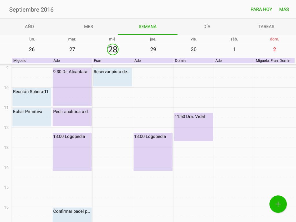 Calendario combinado en Tableta Android