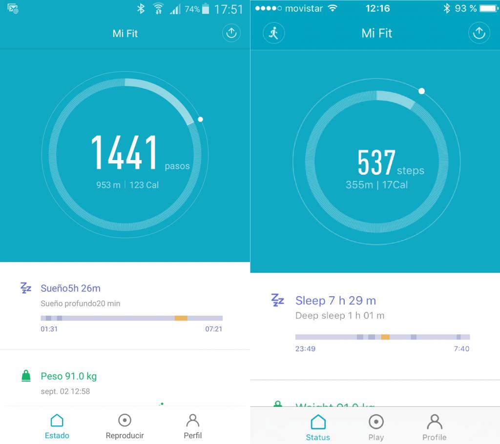 Pestaña Estado Mi Fit en Android y Apple