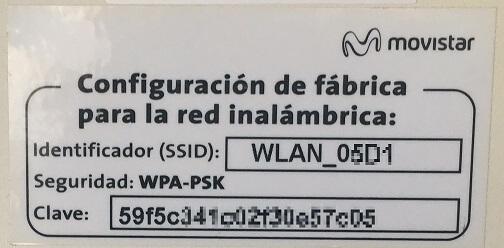 Configuración WiFi de fábrica del Router