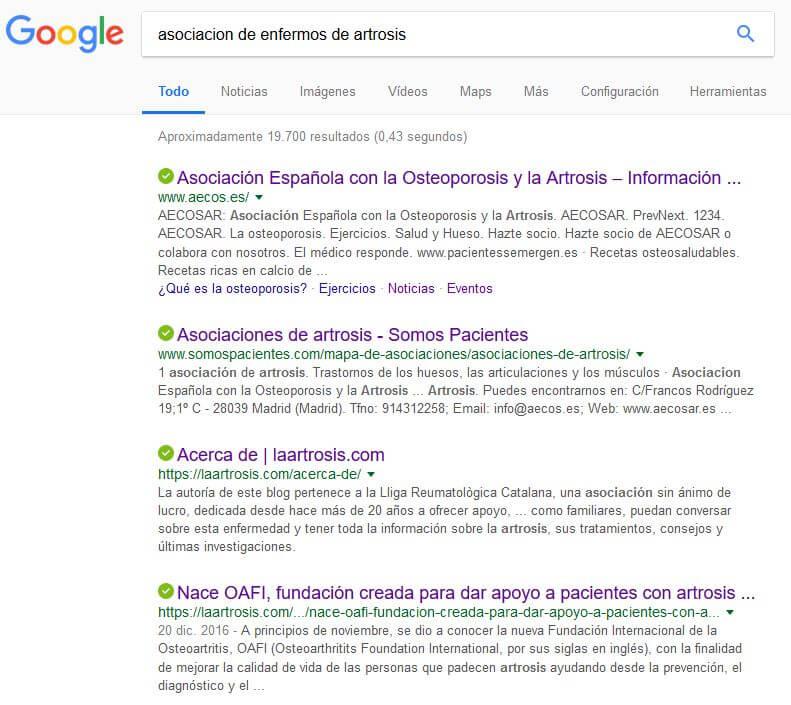 Google. Asociación enfermos de artrosis